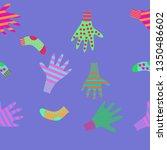 horizontal pattern of mittens ... | Shutterstock . vector #1350486602