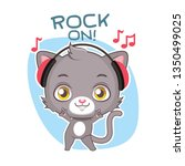 funny sticker with cute gray... | Shutterstock .eps vector #1350499025