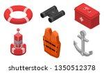Sea Safety Icons Set. Isometri...