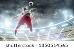taking the ball on the chest in ... | Shutterstock . vector #1350514565