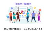 team work horizontal banner... | Shutterstock .eps vector #1350516455