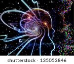 Composition of outline of human head and symbolic elements on the subject of knowledge, science, technology and education - stock photo