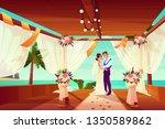 wedding ceremony in exotic... | Shutterstock .eps vector #1350589862