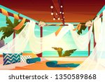 chill out area on luxury ... | Shutterstock .eps vector #1350589868