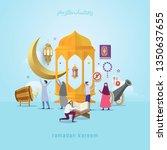 vector illustration ramadan... | Shutterstock .eps vector #1350637655