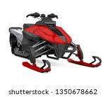 red snowmobile isolated. 3d... | Shutterstock . vector #1350678662