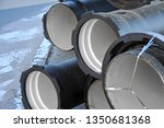 ceramic sewer pipe stacked on... | Shutterstock . vector #1350681368