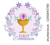 chalice with holy host and... | Shutterstock .eps vector #1350693785