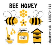 bee honey  funny doodle set.... | Shutterstock .eps vector #1350704918
