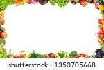 Fruits And Vegetables Frame On...