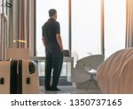 luggage in luxurious hotel... | Shutterstock . vector #1350737165