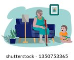 grandmother babysitting with... | Shutterstock .eps vector #1350753365