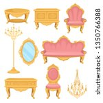 princess furniture. collection... | Shutterstock .eps vector #1350766388