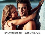 beautiful young couple in love  ... | Shutterstock . vector #135078728
