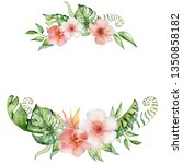 tropical watercolor flowers and ... | Shutterstock . vector #1350858182