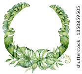 watercolor tropical wreath with ... | Shutterstock . vector #1350859505