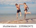 two happy little children... | Shutterstock . vector #1350862472