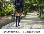 back view of a young school... | Shutterstock . vector #1350869405