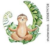 watercolor yoga sloth in lotus... | Shutterstock . vector #1350879728