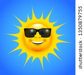 a happy smiling sun with sun...   Shutterstock .eps vector #1350879755