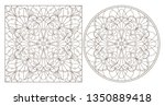set of contour illustrations... | Shutterstock .eps vector #1350889418
