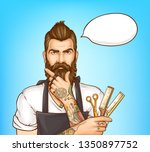 shoulder portrait of bearded... | Shutterstock .eps vector #1350897752
