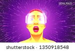 the virtual reality glasses.... | Shutterstock .eps vector #1350918548
