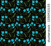 simple floral pattern with blue ... | Shutterstock .eps vector #1350933155