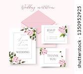 wedding floral invitation card... | Shutterstock .eps vector #1350952925
