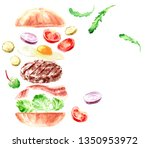 hand drawn watercolor fast food ... | Shutterstock . vector #1350953972
