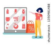 store worker promoting goods... | Shutterstock .eps vector #1350981488