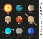 planets set of the solar system.... | Shutterstock . vector #1350986285