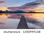 long wooden pier into lake... | Shutterstock . vector #1350995138