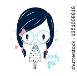 hand drawing pretty girl... | Shutterstock .eps vector #1351008818