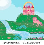 card with a cute unicorn | Shutterstock .eps vector #1351010495