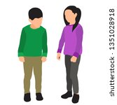 children boy and girl | Shutterstock .eps vector #1351028918