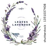 Stock photo watercolor floral wreath made of lavender flowers buds and leaves with green dragonfly vintage 1351037408