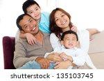 portrait of asian family... | Shutterstock . vector #135103745