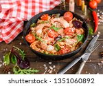tasty pasta with shrimp and... | Shutterstock . vector #1351060892