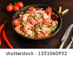 tasty pasta with shrimp and... | Shutterstock . vector #1351060952