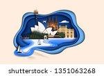 top world famous landmark for... | Shutterstock .eps vector #1351063268