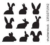 easter bunny silhouette  vector ... | Shutterstock .eps vector #1351071542