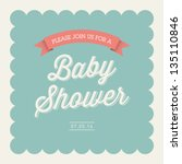 Baby shower invitation card editable with type, font, ribbon, frame border vintage | Shutterstock vector #135110846