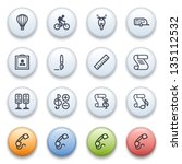 internet icons on color buttons. | Shutterstock .eps vector #135112532