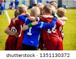 Small photo of Team Sports for Kids. Children Sports Soccer Team. Coach Motivate Soccer Players to Play as a Team. Boys Kids Soccer Football Game. Young Children In Huddle Building Team Spirit.