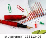 pen  magnifying glass and the... | Shutterstock . vector #135113408