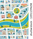 city map. streets of a colorful ... | Shutterstock .eps vector #1351159658