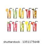 set of juice glass vector...   Shutterstock .eps vector #1351175648