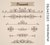 vintage ornaments collection... | Shutterstock .eps vector #1351194782