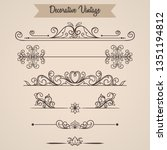 set floral vintage ornament for ... | Shutterstock .eps vector #1351194812